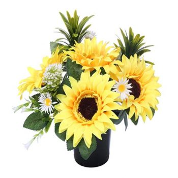 Artificial Sunflower and Daisy Memorial Pot