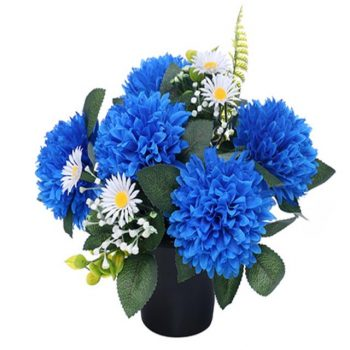 Artificial Blue and White Chrysanthemum and Daisy Memorial Pot