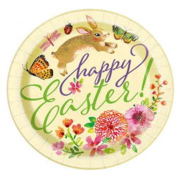 Floral Easter Bunny Paper Plates