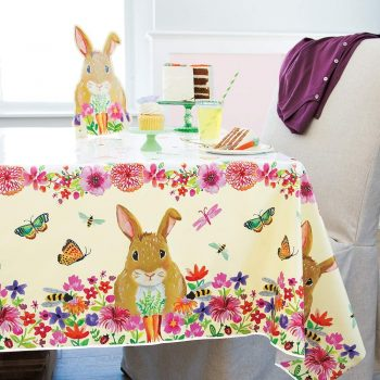 Floral Easter Bunny Plastic Tablecloth