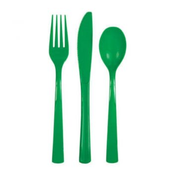 Party Plastic Cutlery Set Emerald Green