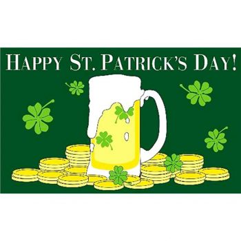 Happy St Patricks Day Flag with pint of beer design