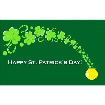 Happy St Patricks Day Flag with a pot of gold