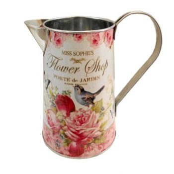 Round Metal Jug with Handle and Flower Shop Rose Design