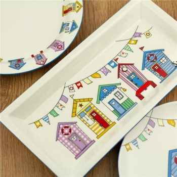 Beach Hut Scene Ceramic Rectangular Platter