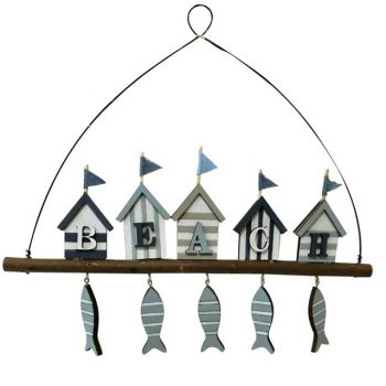 Nautical Beach Hut Wooden Hanger with Fish