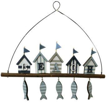 Nautical Beach Hut Wooden Hanger with Fish