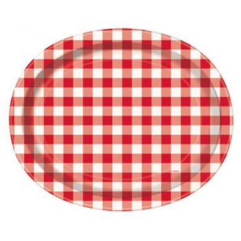 Oval Red Gingham Summer Paper Party Plates
