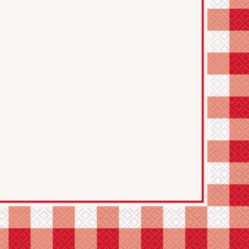Red Gingham Summer Paper Napkins Pack of 16