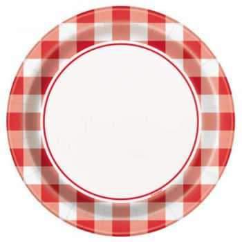 18cm Red Gingham Summer Paper Party Plates