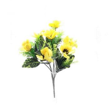 Artificial Yellow Poppy Spring Bush