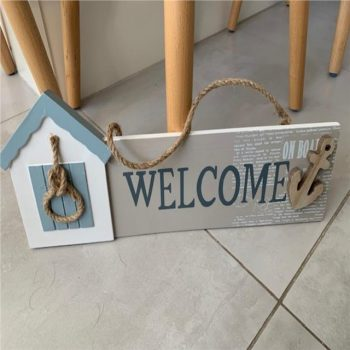 Nautical Welcome Sign with Anchor and Knot