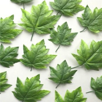 Pack of 16 Artificial Green Maple Leaves