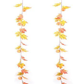 Artificial Maple Leaf and Pumpkin Garland