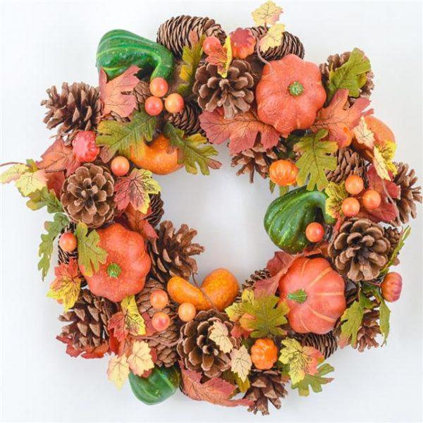 35cm Artificial Pumpkin Woodland Wreath