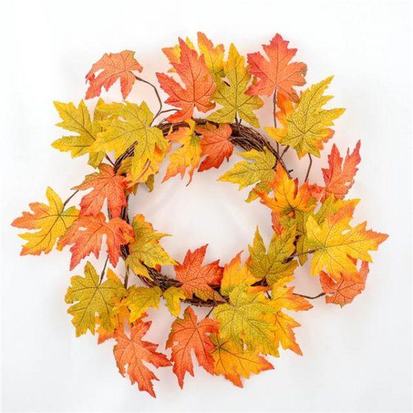 Artificial Autumn Maple Leaf Wreath 75cm