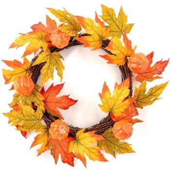 Artificial Autumn Maple Leaf and Pumpkin Wreath
