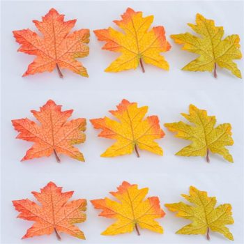 Packet of 9 Artificial Autumn Maple Leaves - Assorted