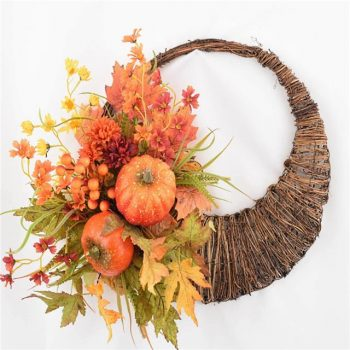 Artificial Autumn Pumpkin Cornucopia with Maple Leaves and Berries