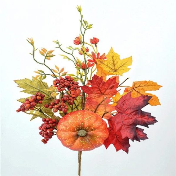Artificial Rustic Harvest Stem with Pumpkin