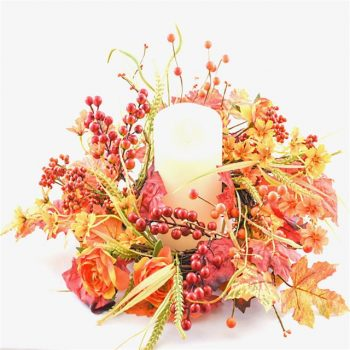 Autumn Glory Harvest Candle Wreath and Holder