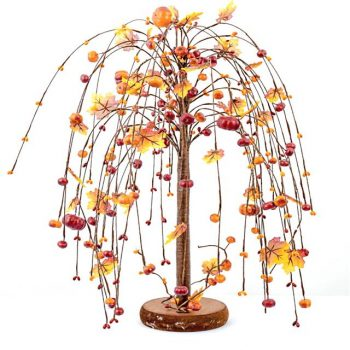 Artificial Autumn Pumpkin and Pip Berry Willow Tree