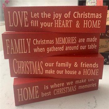 Set of 4 Christmas Message Word Blocks