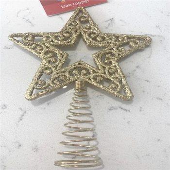 Gold Glitter Star Christmas Tree Topper