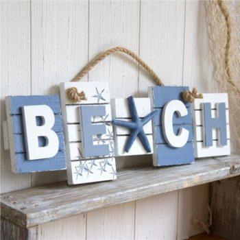 Nautical Beach Sign with 3D Starfish