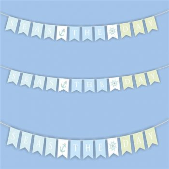 Nautical Wooden Bunting 'Seas The Day' Garland