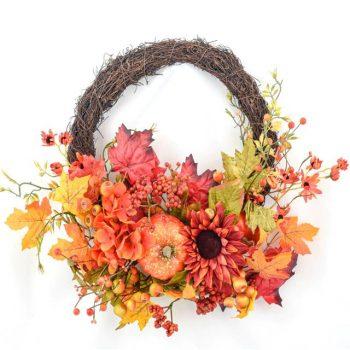 Artificial Rustic Harvest Vine Wreath with Pumpkins