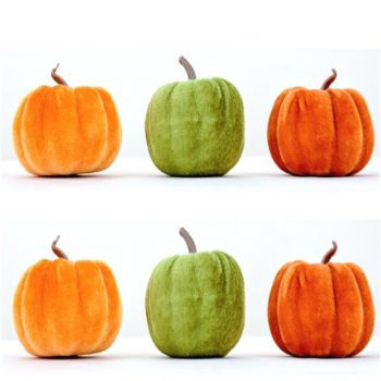 Set of 6 Velvet Halloween Pumpkins