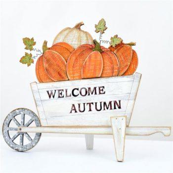 Welcome Autumn Wheelbarrow Sign