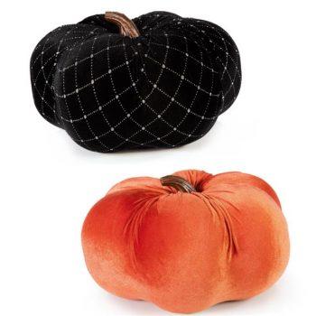 Set of 2 Velvet Orange and Black Pumpkins