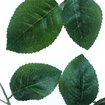 42 Artificial Silk Plain Green Rose Leaves