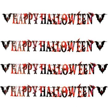 Bloody Happy Halloween Party Banner with Bats