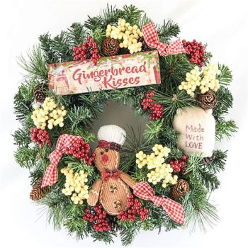 Gingerbread Man Spruce Christmas Wreath