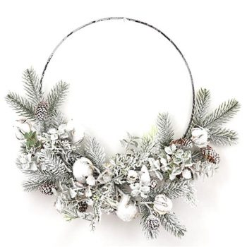 White Frosted Spruce Christmas Wire Wreath