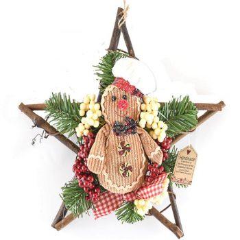 Gingerbread Christmas Star Wreath Decoration