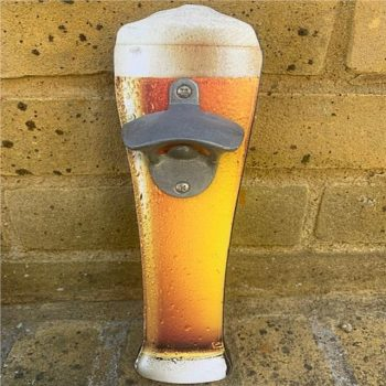 Pint of Lager Bottle Opener Wall Plaque