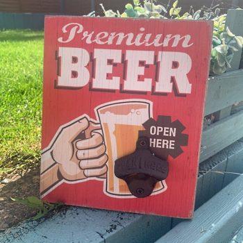 Premium Beer Vintage Red Plaque with Bottle Opener