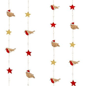 Festive Garland of Christmas Robins with Gold and Red Stars