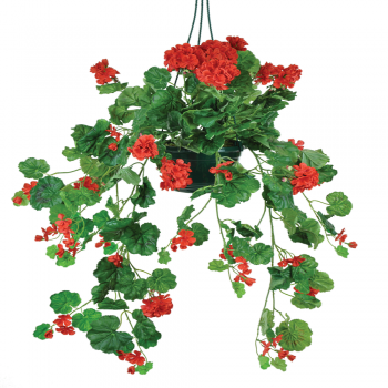 Artificial Hanging Basket With Trailing Red Geranium Flowers