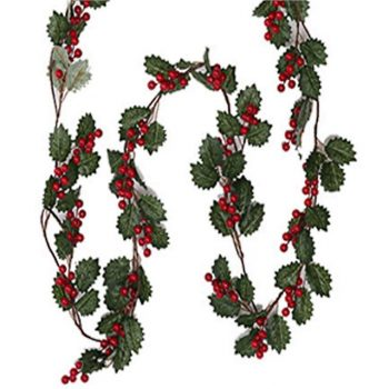 Artificial Green Holly and Red Berry Garland