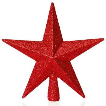 Red Glitter Star Christmas Tree Topper