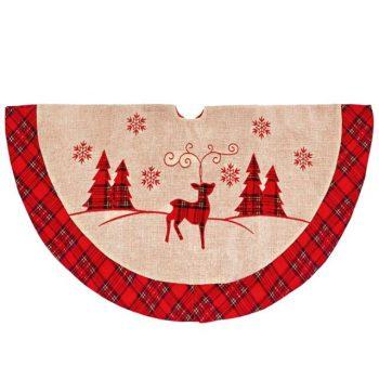Large Red Plaid Reindeer Christmas Tree Skirt