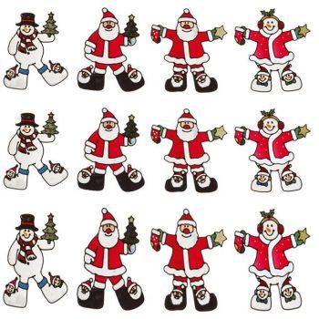 Set of 4 Santa Snowman Window Clings