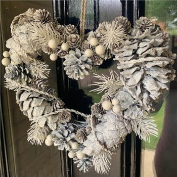 Artificial White Spruce and Pine Cone Heart Christmas Wreath