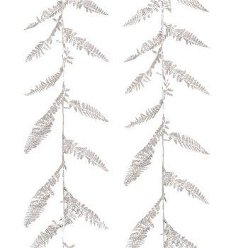 Artificial Festive Silver Glitter Boston Fern Leaf Garland