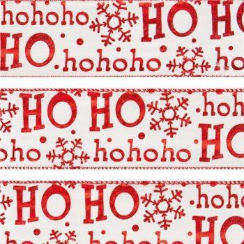 Ho Ho Ho Snowflake Christmas Wired Edge Ribbon